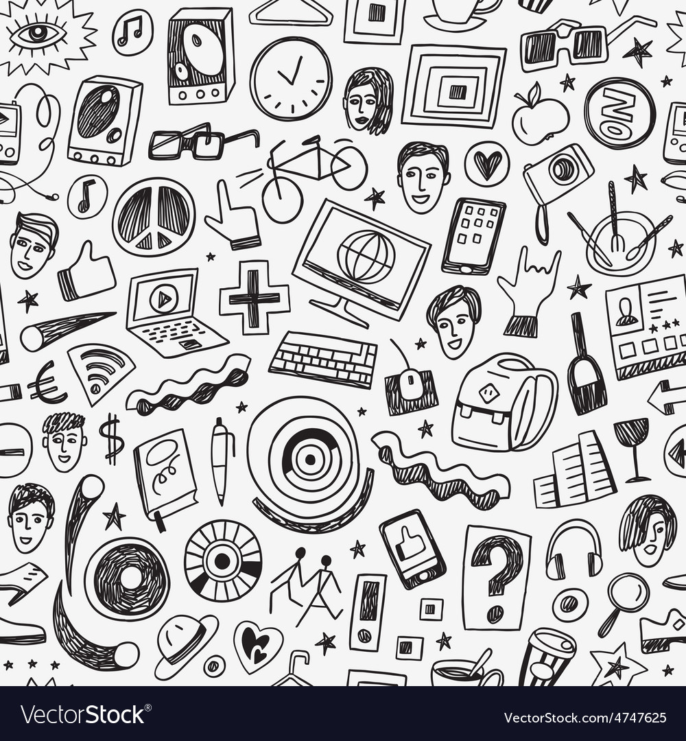 Hipsters seamless background vector | Price: 1 Credit (USD $1)