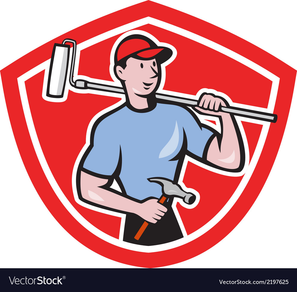 House painter paint roller shield cartoon vector | Price: 1 Credit (USD $1)