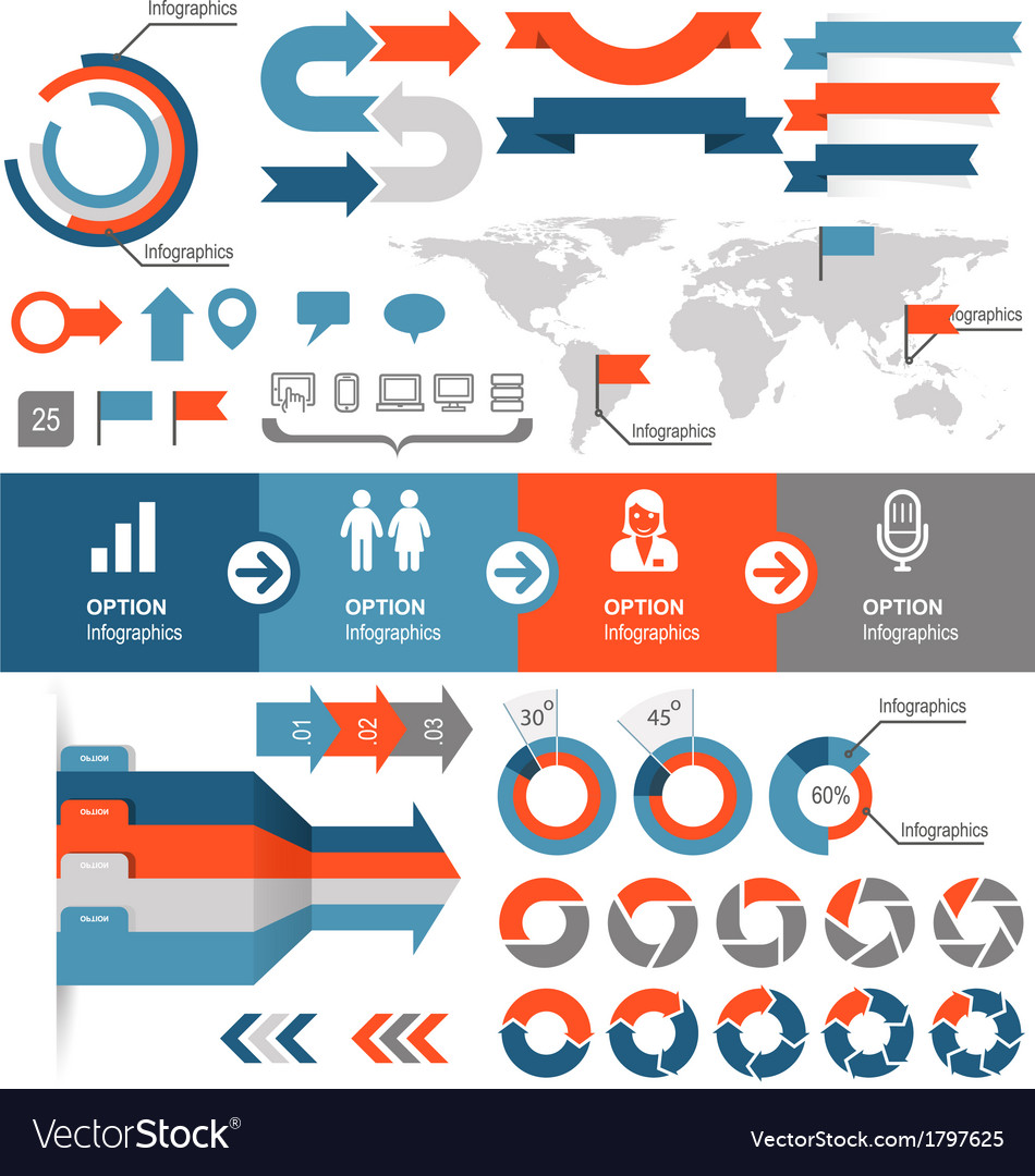 Infographics and statistic elements and icons vector | Price: 1 Credit (USD $1)