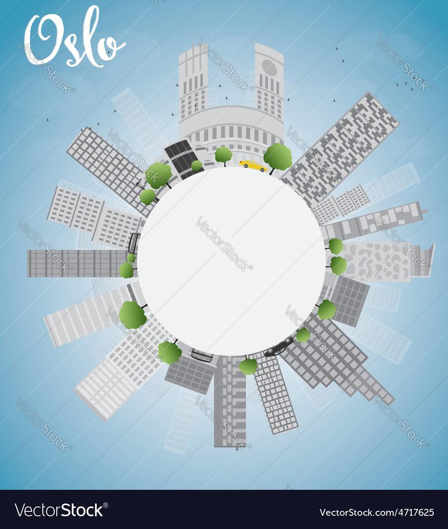 Oslo skyline with grey building vector | Price: 1 Credit (USD $1)