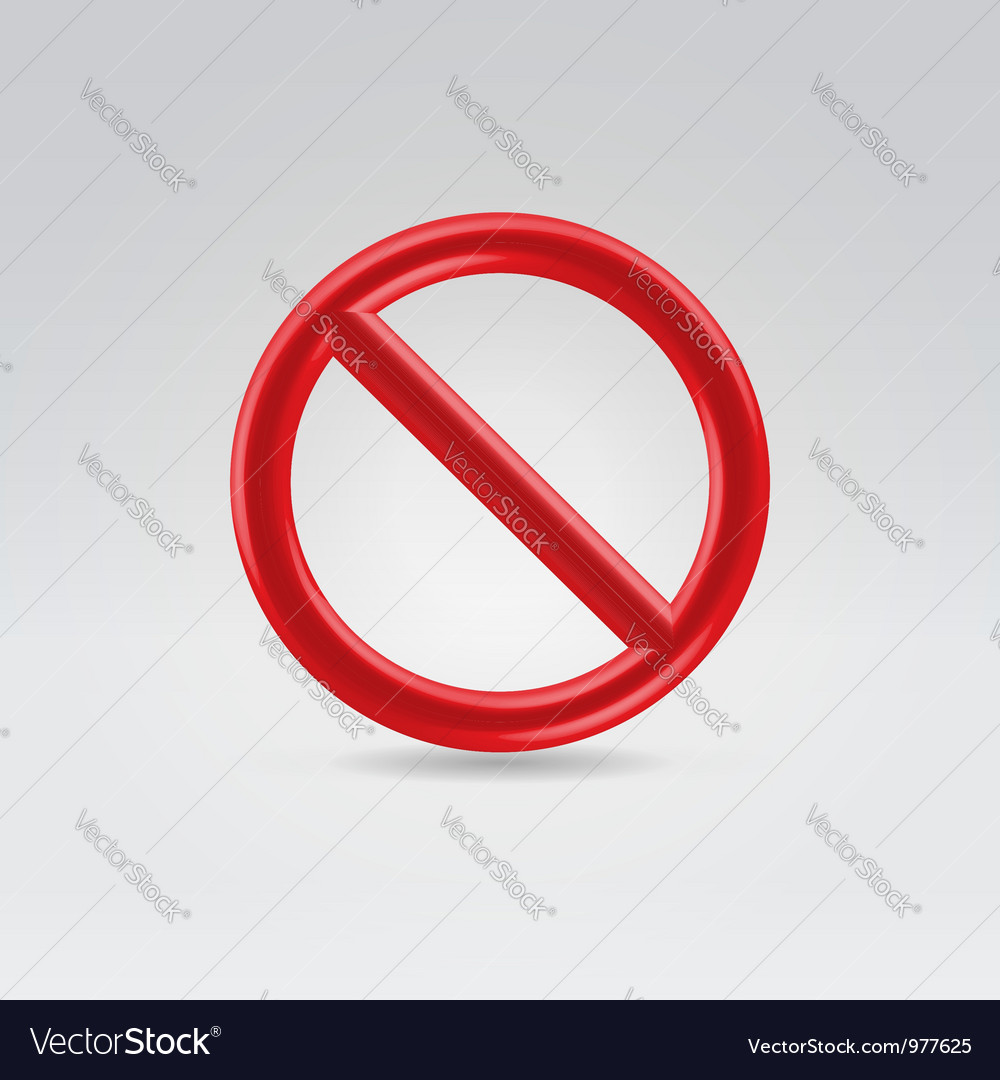 Red round sign of prohibition vector | Price: 1 Credit (USD $1)
