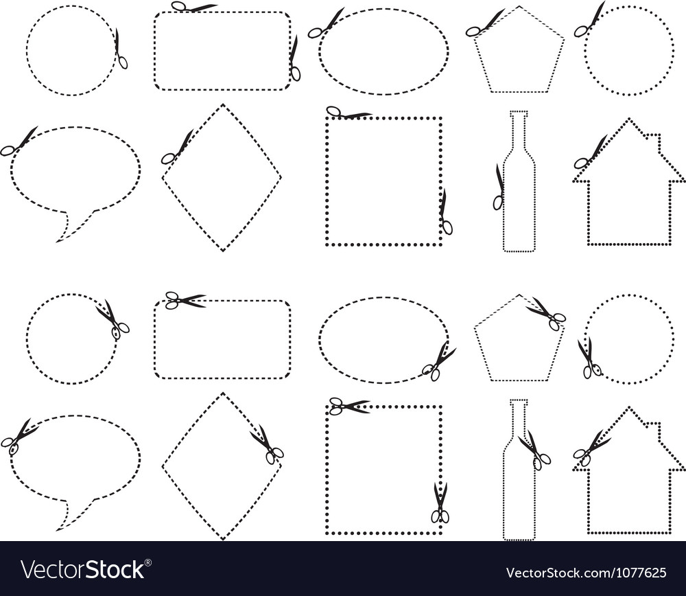 Scissors cutting different shapes vector | Price: 1 Credit (USD $1)