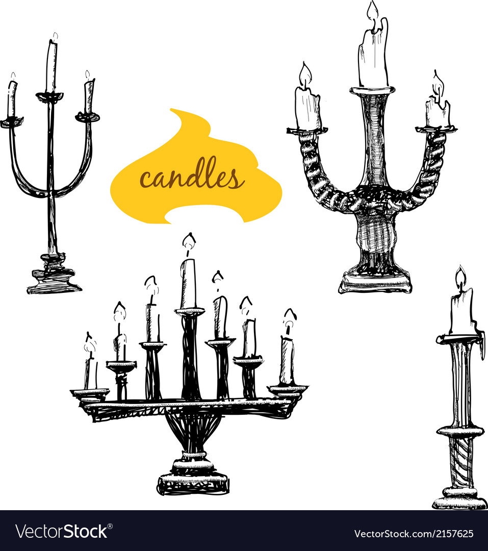 Set of candlesticks with candles vector | Price: 1 Credit (USD $1)