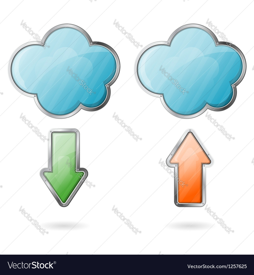 Upload and download on cloud icon vector | Price: 1 Credit (USD $1)