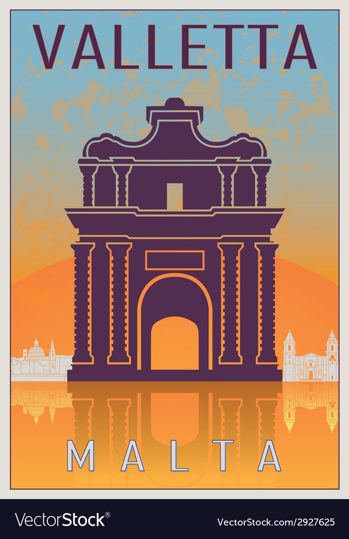 Valletta vintage poster vector | Price: 1 Credit (USD $1)