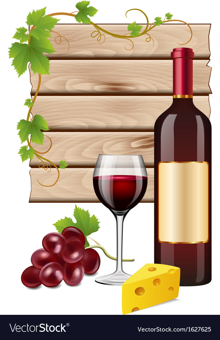 Wine grapes and cheese vector | Price: 1 Credit (USD $1)