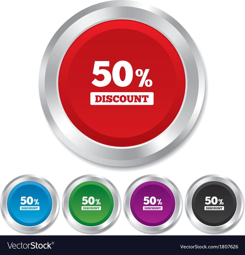 50 percent discount sign icon sale symbol vector | Price: 1 Credit (USD $1)
