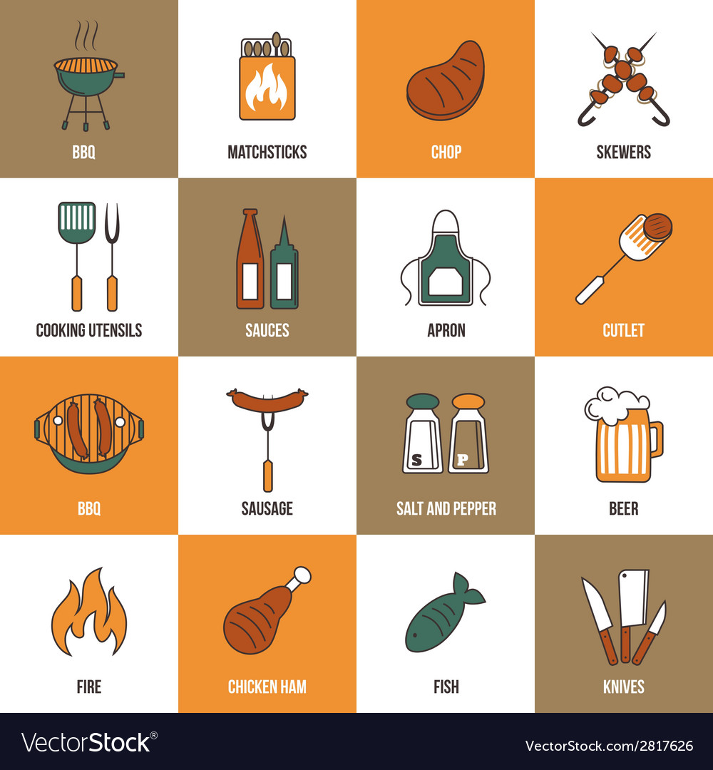 Bbq line icons vector | Price: 1 Credit (USD $1)