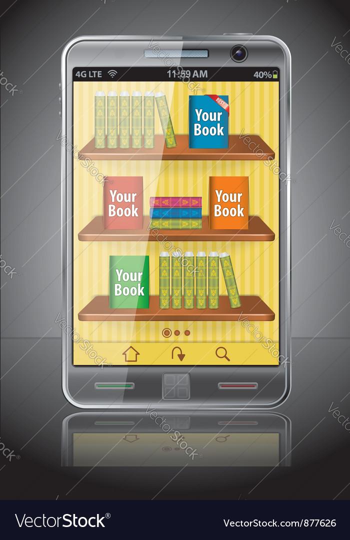 Books on smart phone vector
