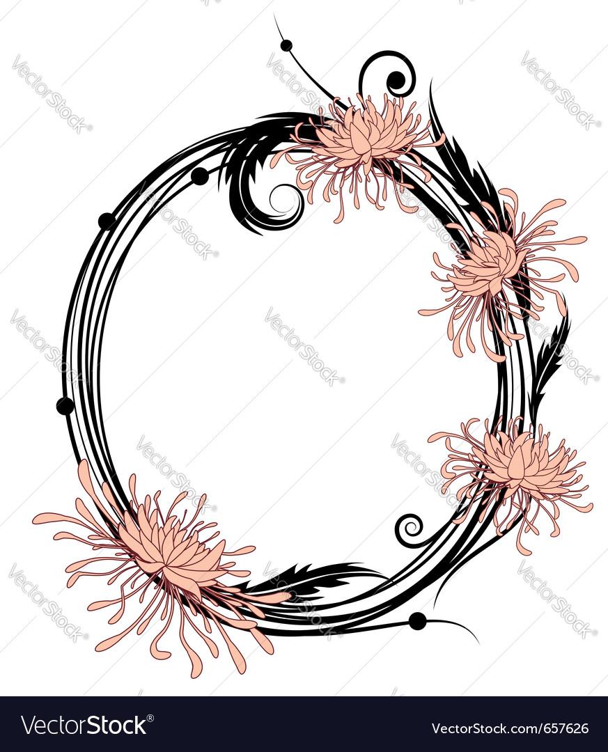Chrysanthemum floral frame vector | Price: 1 Credit (USD $1)
