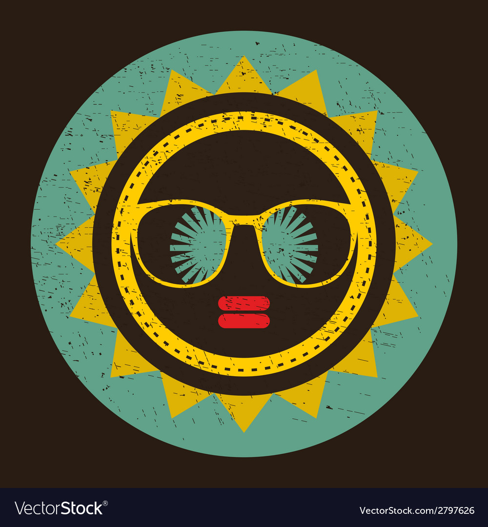 Cool sun with woman face in retro style vector | Price: 1 Credit (USD $1)