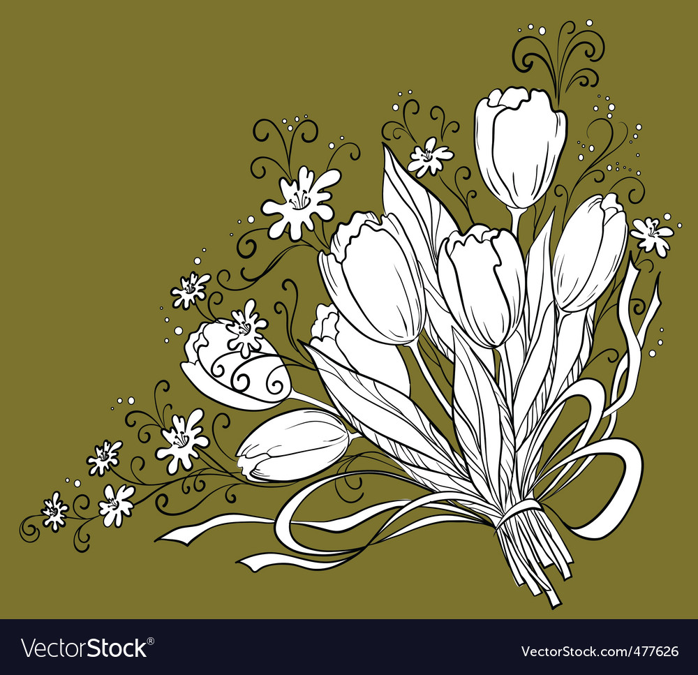 Flower tulips contour vector | Price: 1 Credit (USD $1)