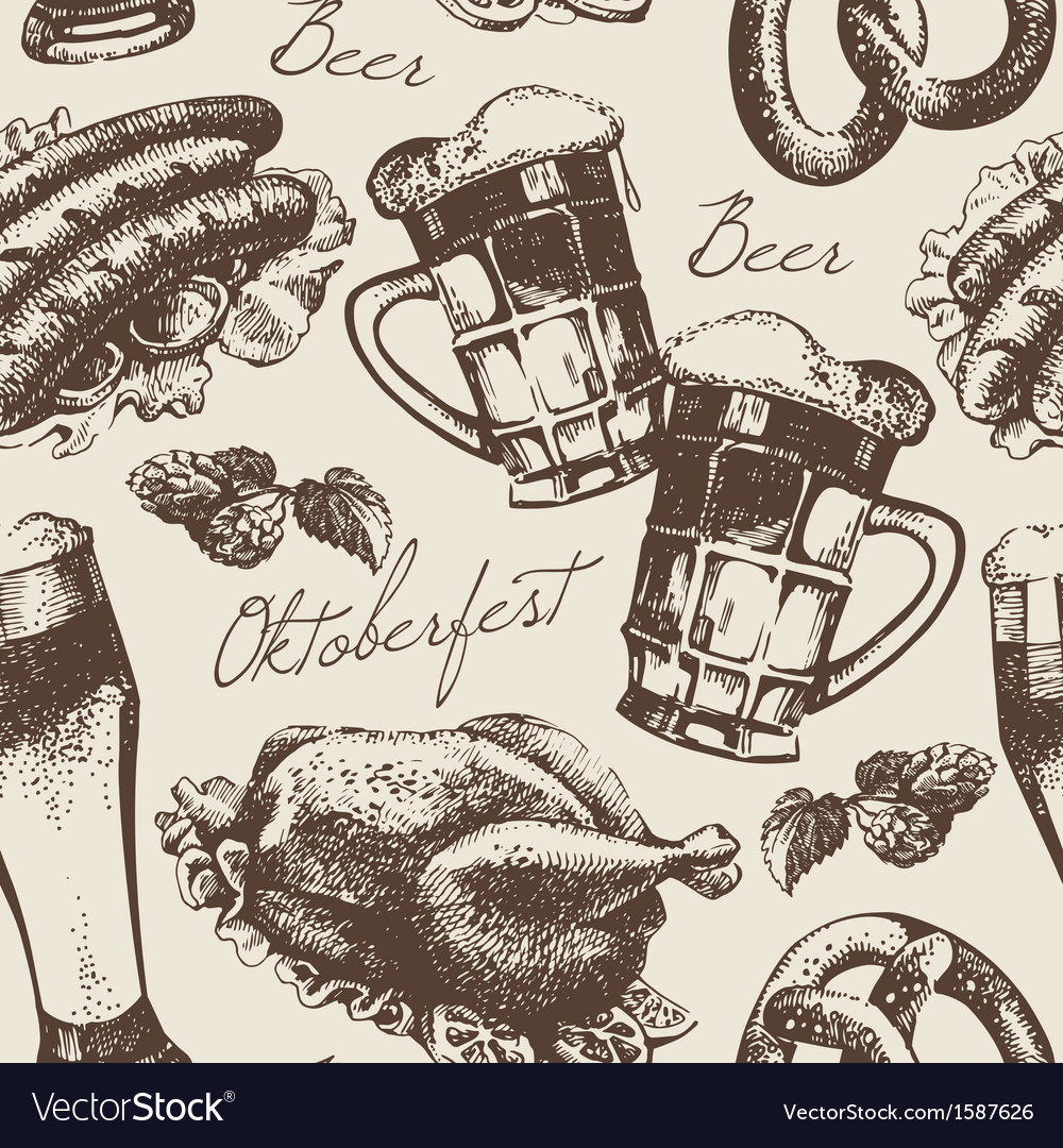 Hand drawn oktoberfest vintage seamless pattern vector | Price: 1 Credit (USD $1)
