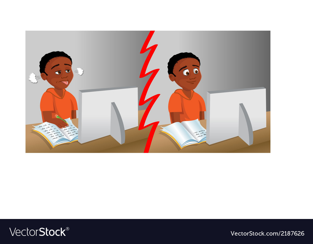 Kid homework computer vector | Price: 1 Credit (USD $1)