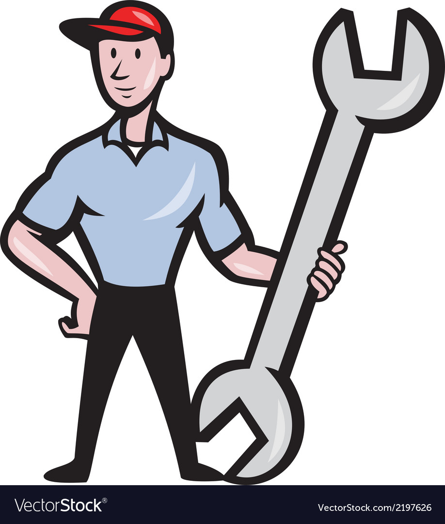 Mechanic hold spanner wrench cartoon vector | Price: 1 Credit (USD $1)