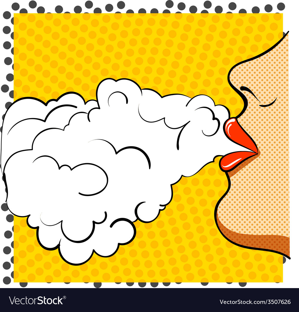 Poster retro pop art she smokes vector | Price: 1 Credit (USD $1)