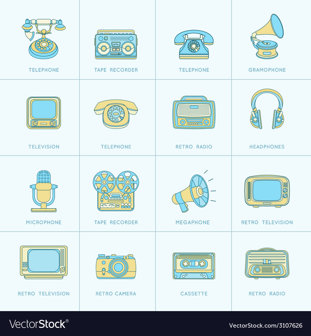 Retro media flat line icons vector | Price: 1 Credit (USD $1)