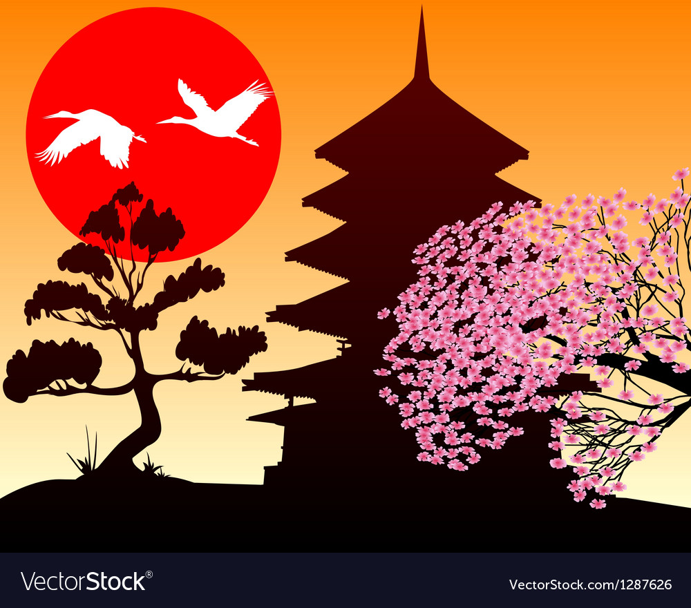 Silhouette pagoda and sakura vector | Price: 1 Credit (USD $1)