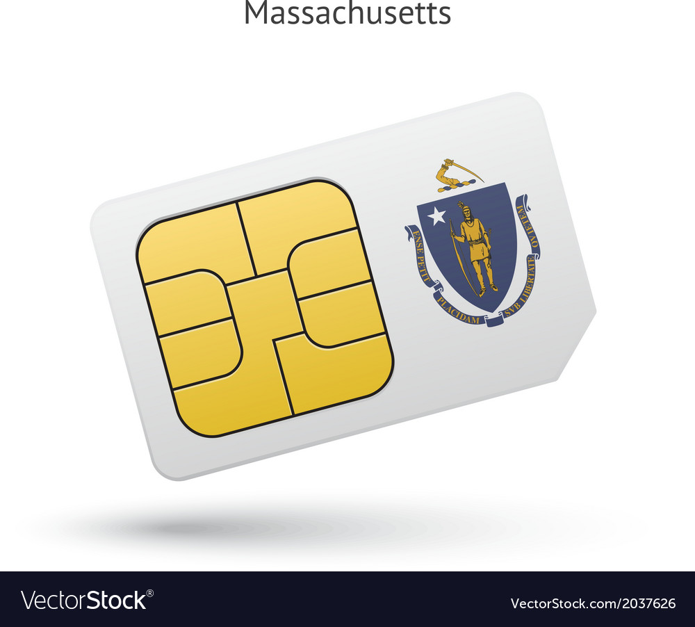 State of massachusetts phone sim card with flag vector | Price: 1 Credit (USD $1)