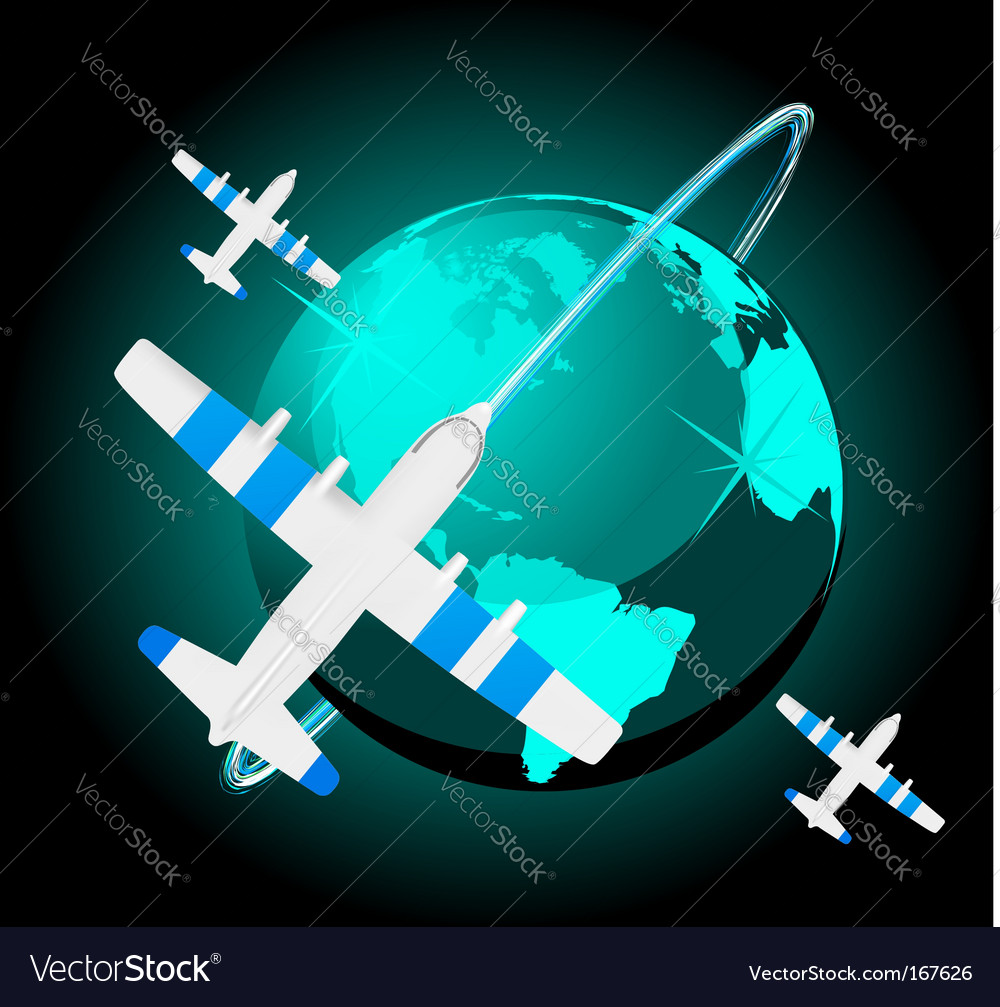 Travel plane on map vector | Price: 1 Credit (USD $1)