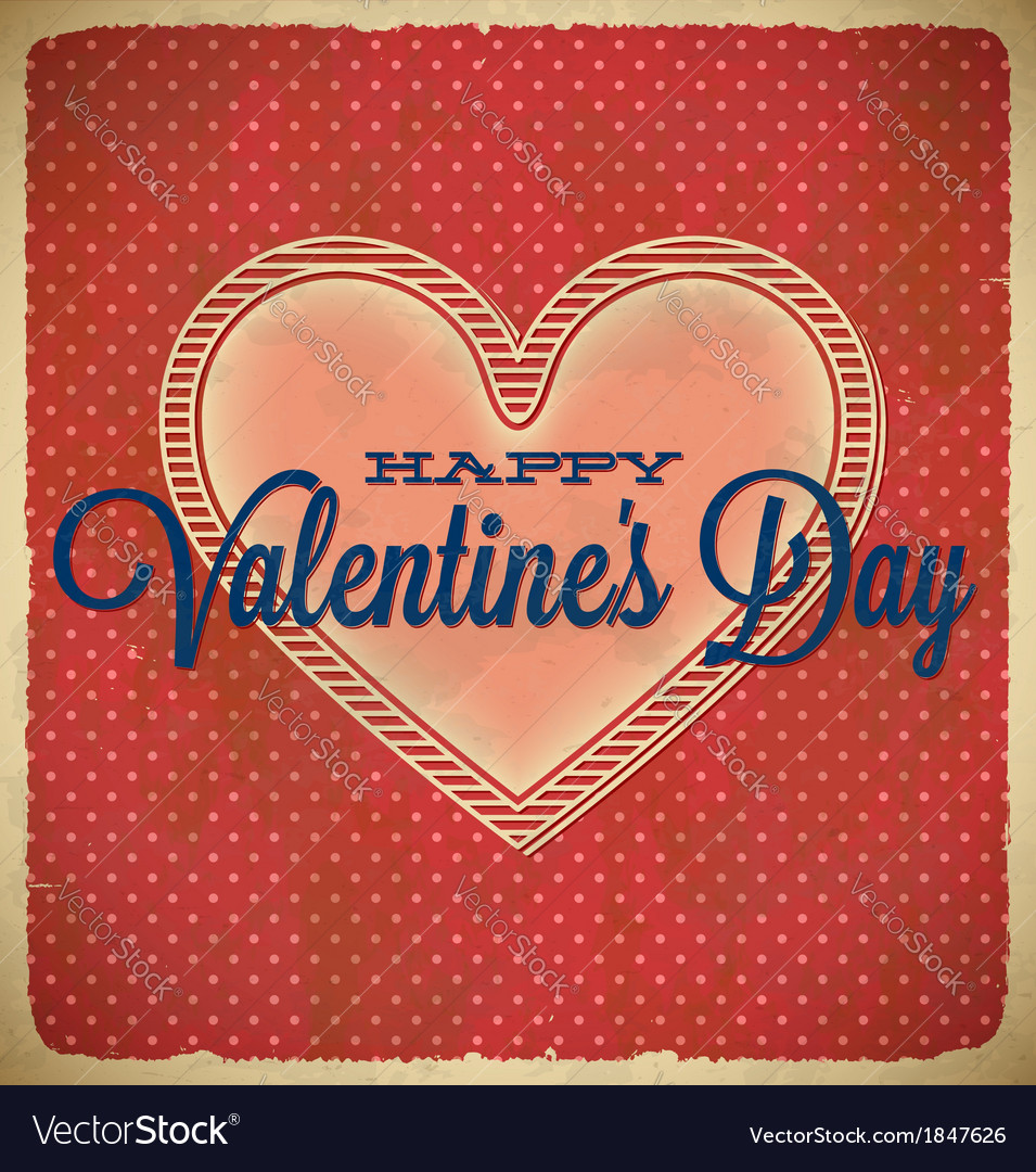 Vintage valentines day card with polka dots vector   Price: 1 Credit (USD $1)