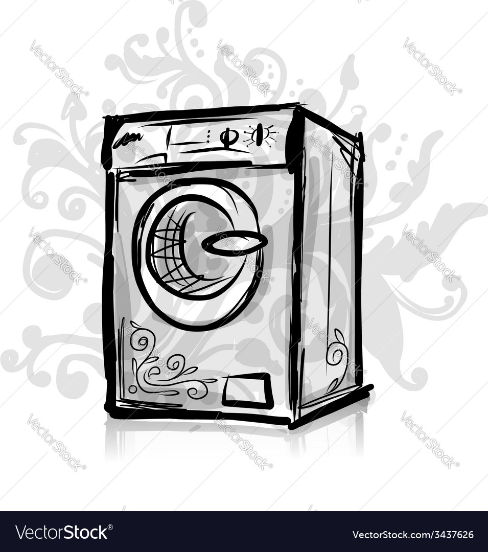Washing machine sketch for your design vector | Price: 1 Credit (USD $1)
