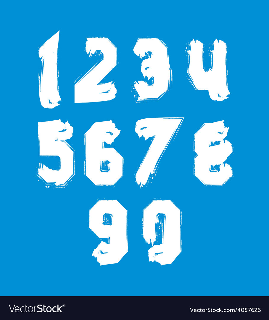 White hand painted daub numerals collection of vector | Price: 1 Credit (USD $1)