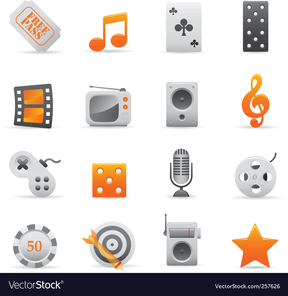 Yellow entertainment icons vector | Price: 1 Credit (USD $1)