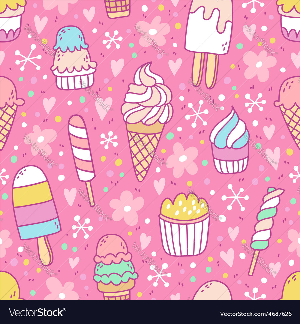 Yummy ice cream on pink background seamless vector   Price: 1 Credit (USD $1)
