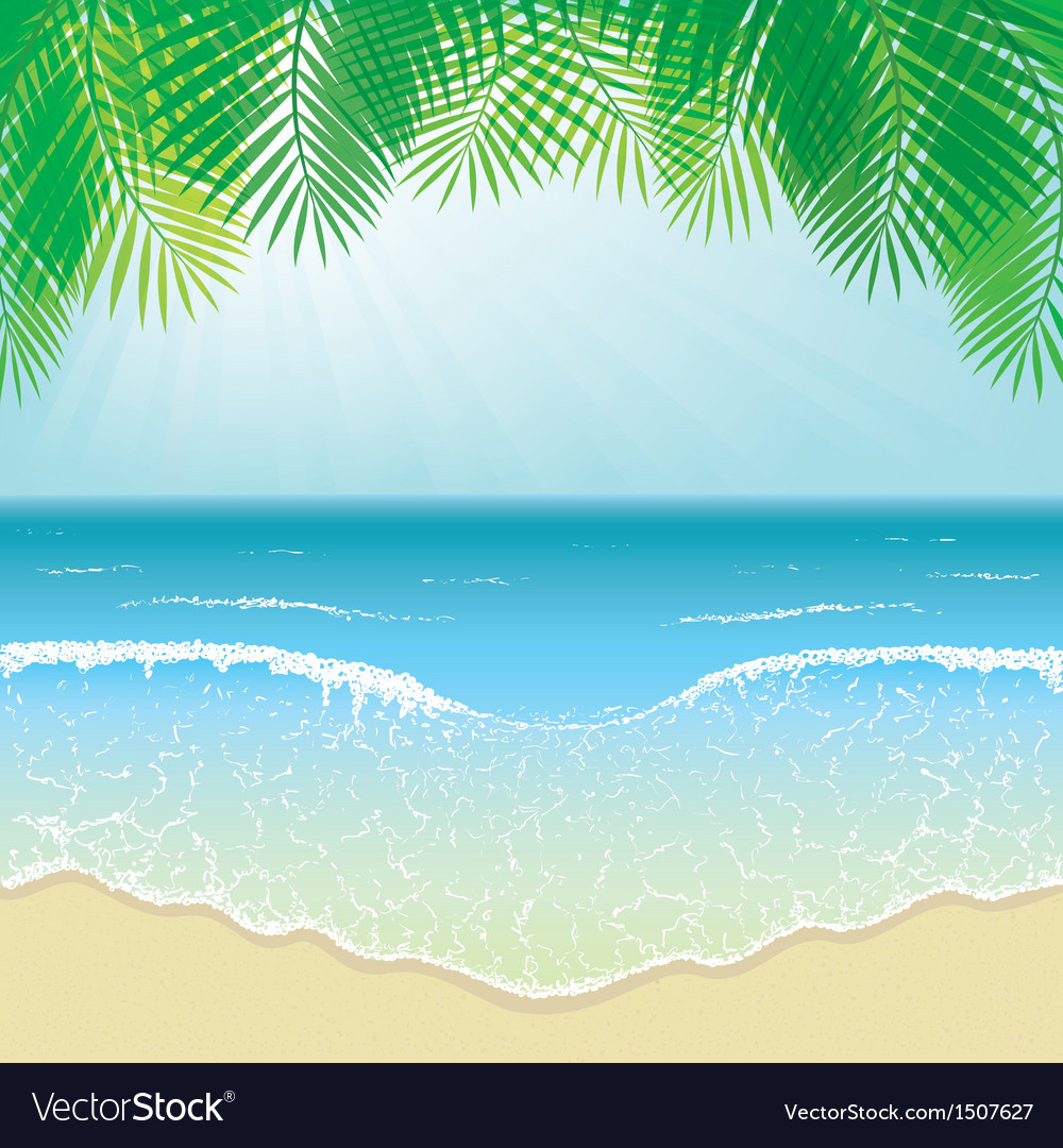 Beach sea waves and palm leaves vector | Price: 1 Credit (USD $1)
