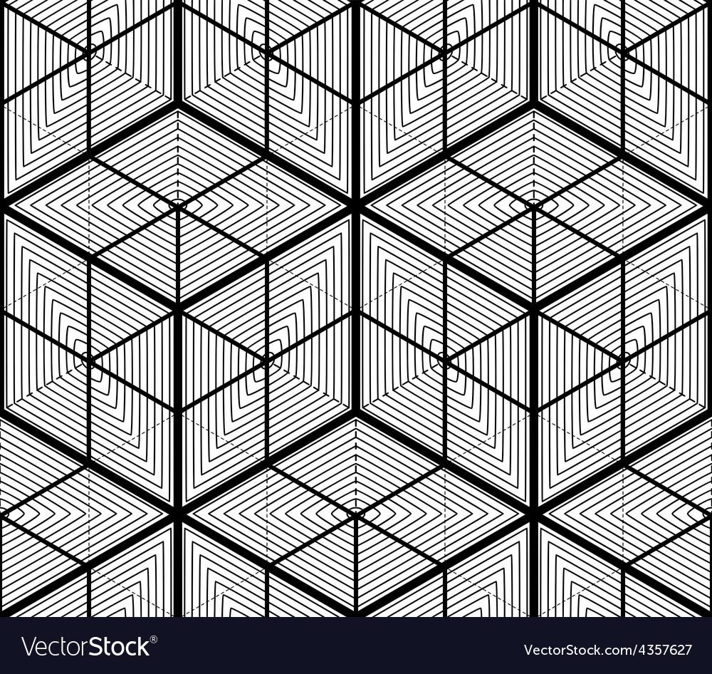 Black and white abstract geometric seamless 3d vector | Price: 1 Credit (USD $1)