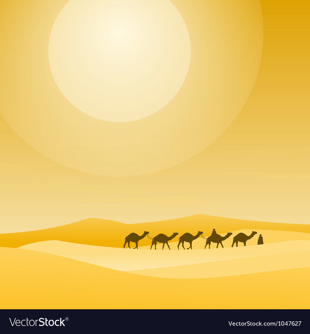 Caravan with sand dunes vector | Price: 1 Credit (USD $1)