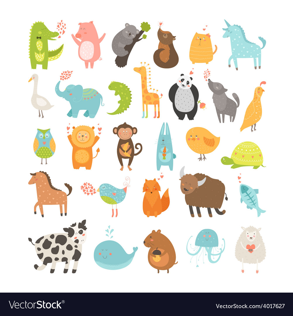 Cute animals collection vector | Price: 1 Credit (USD $1)