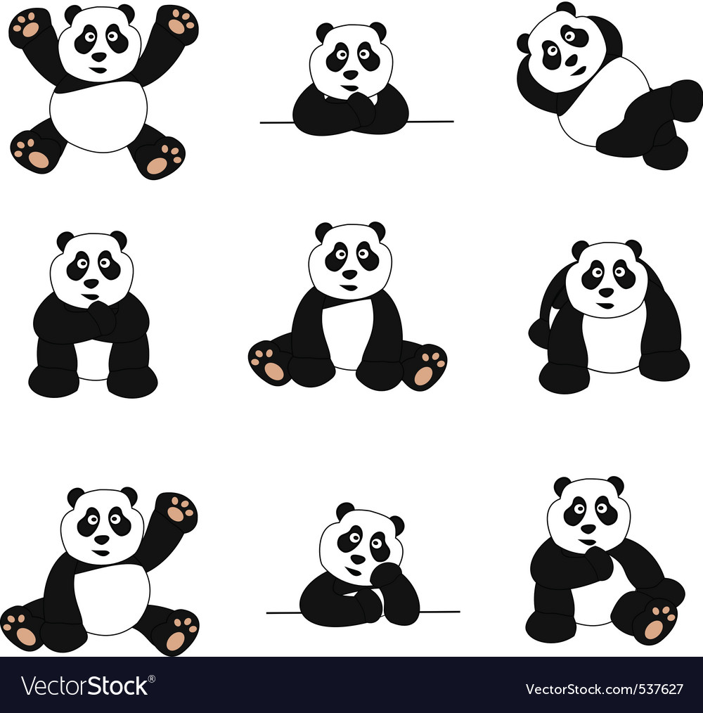 Cute panda set vector | Price: 1 Credit (USD $1)