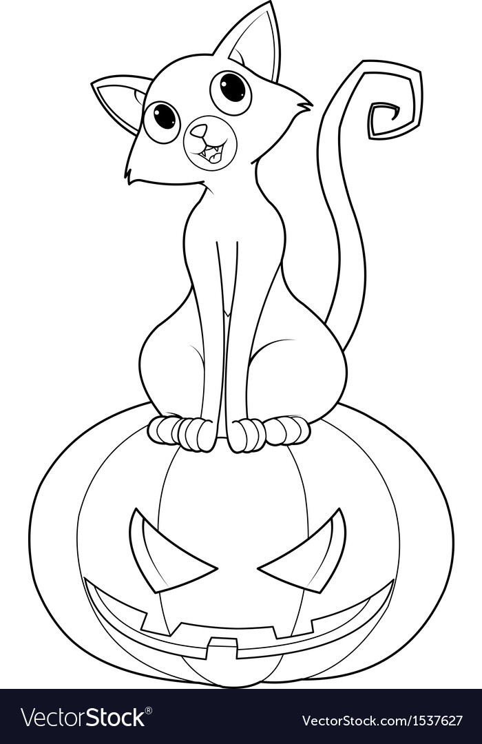 Halloween cat on pumpkin coloring page vector | Price: 1 Credit (USD $1)