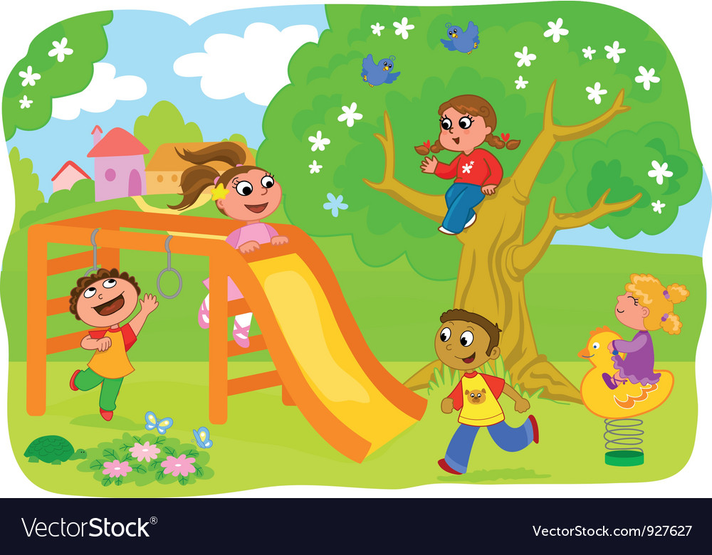 Happy kids playing in the countryside vector | Price: 5 Credit (USD $5)