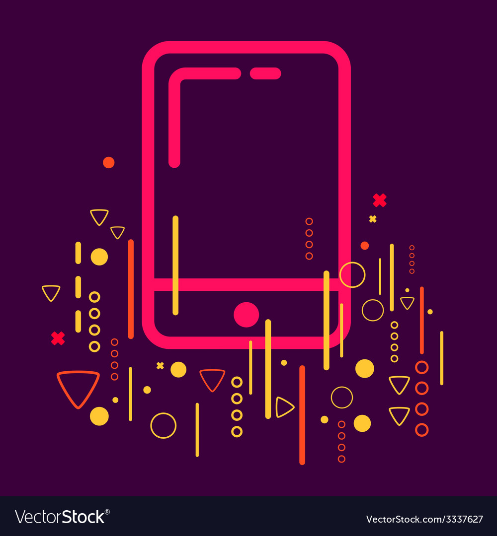 Mobile phone on abstract colorful geometric dark vector | Price: 1 Credit (USD $1)