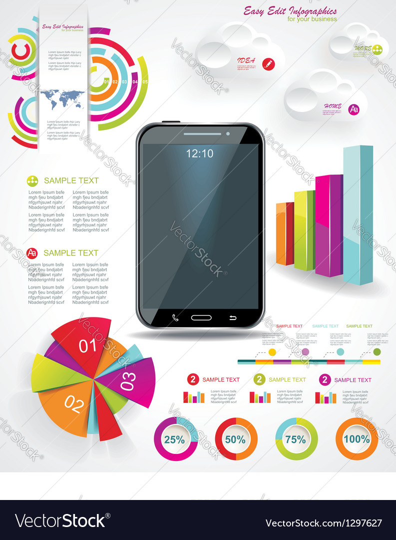 Modern infographic with a touch screen smartphone vector | Price: 1 Credit (USD $1)