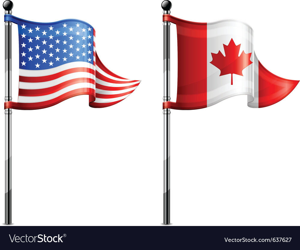 North america flagpoles vector | Price: 3 Credit (USD $3)