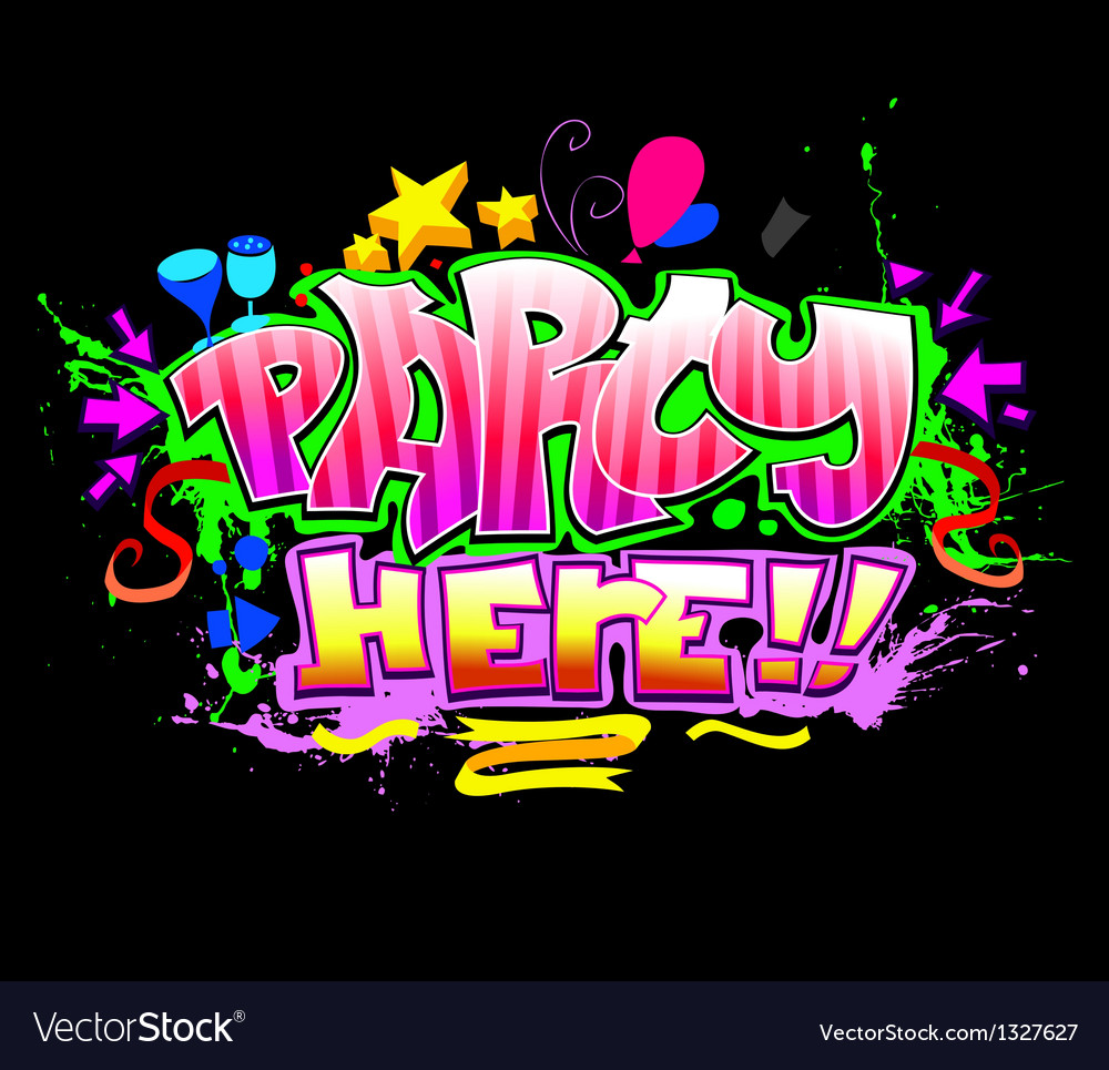 Party here colorful invitation background vector | Price: 1 Credit (USD $1)