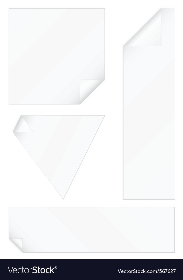 Peeled corners stickers set vector