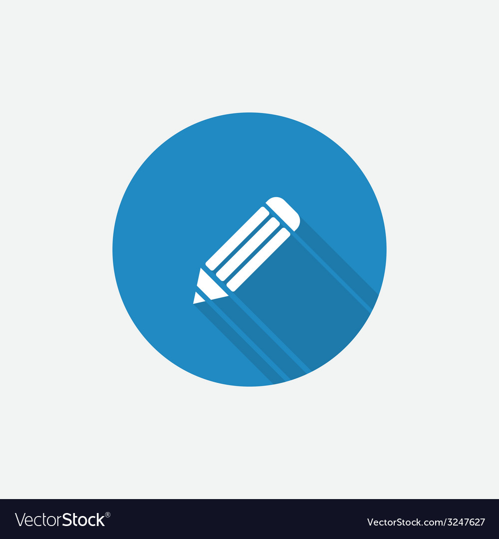 Pencil flat blue simple icon with long shadow vector | Price: 1 Credit (USD $1)