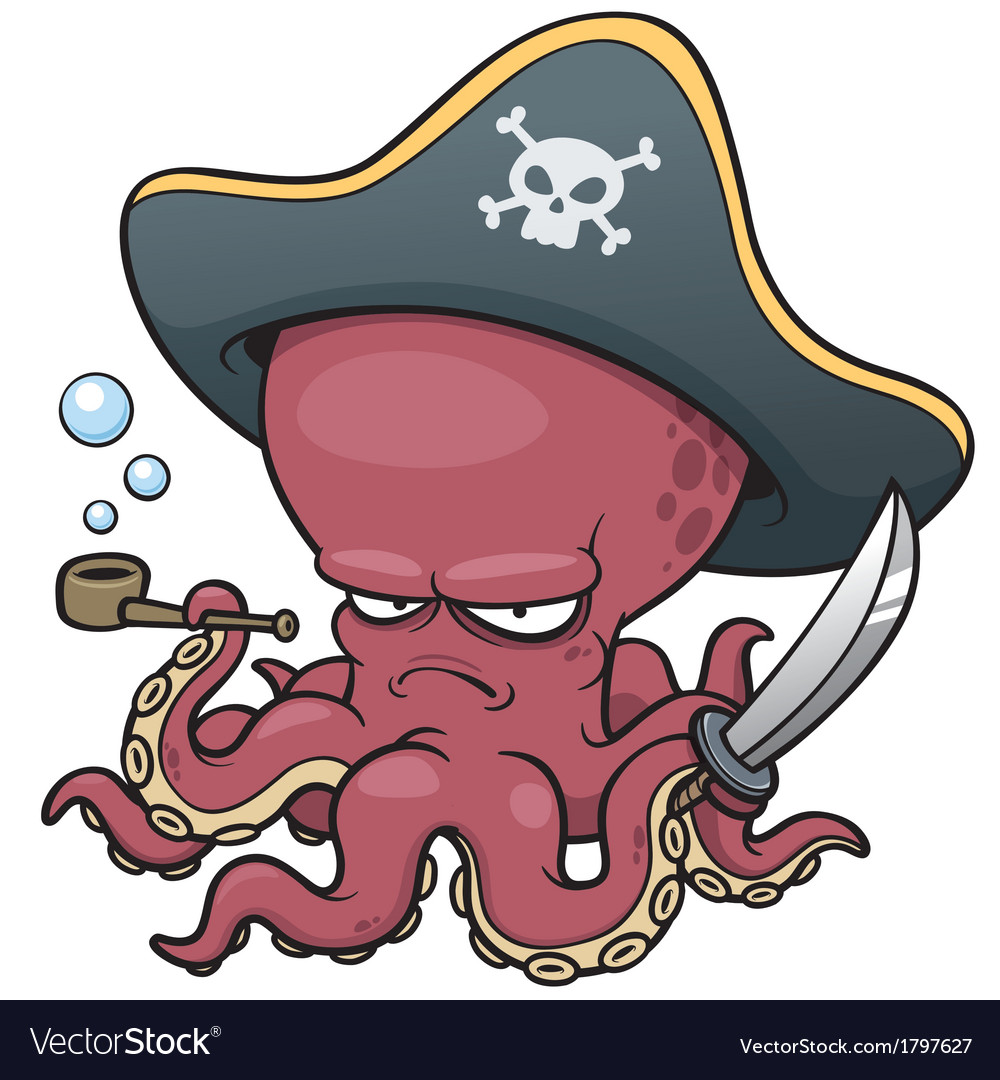 Pirate octopus vector | Price: 1 Credit (USD $1)