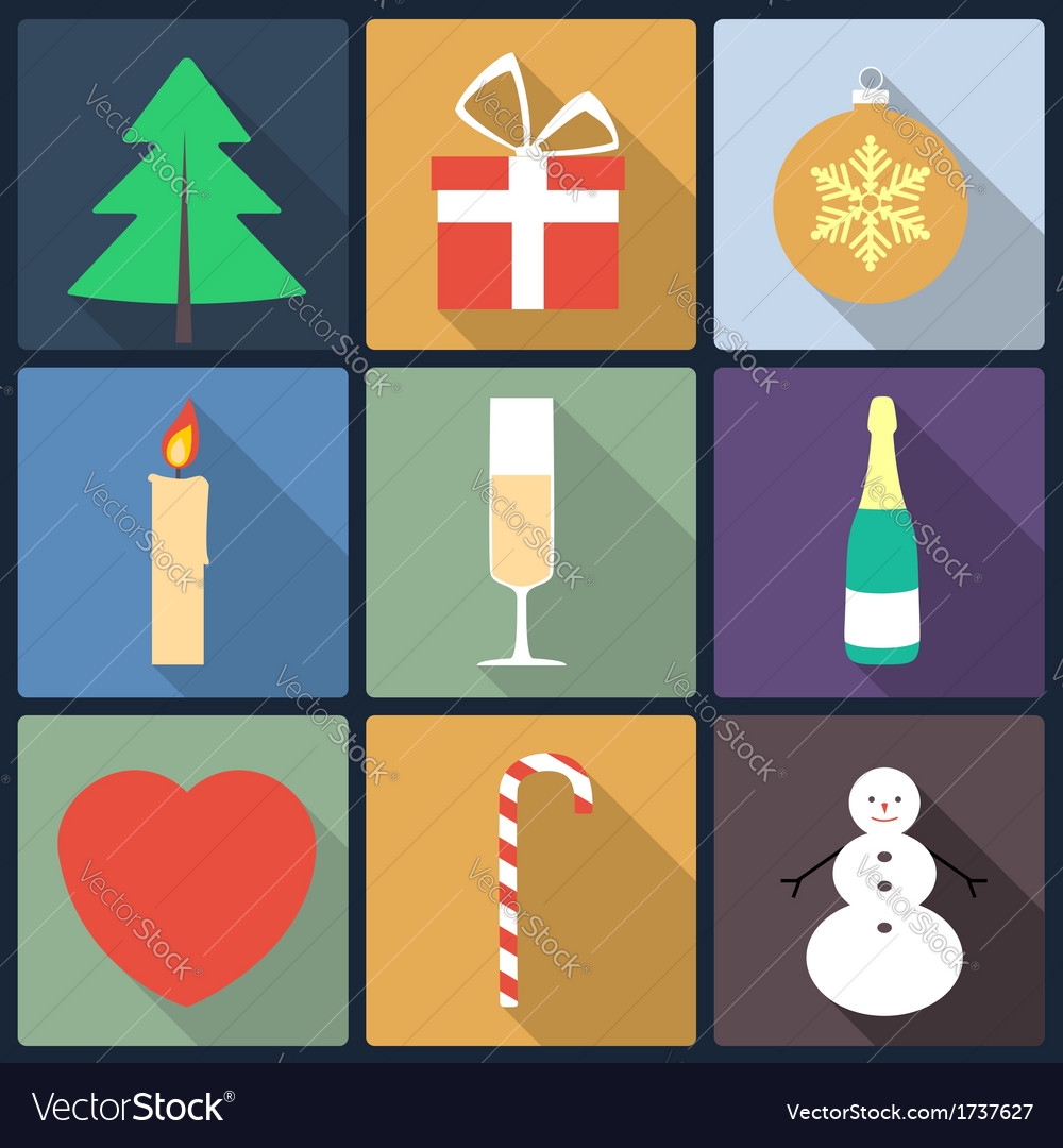 Set of christmas icons flat icons vector | Price: 1 Credit (USD $1)