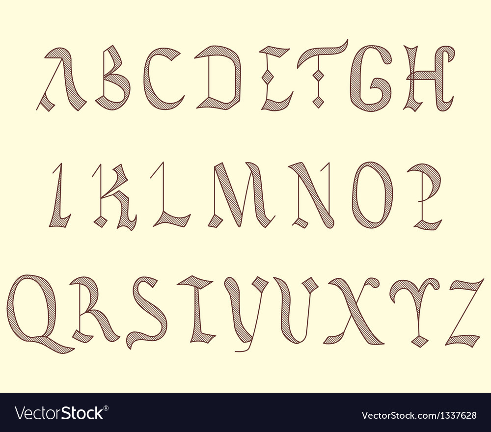 Alphabet vatican eighth century vector | Price: 1 Credit (USD $1)