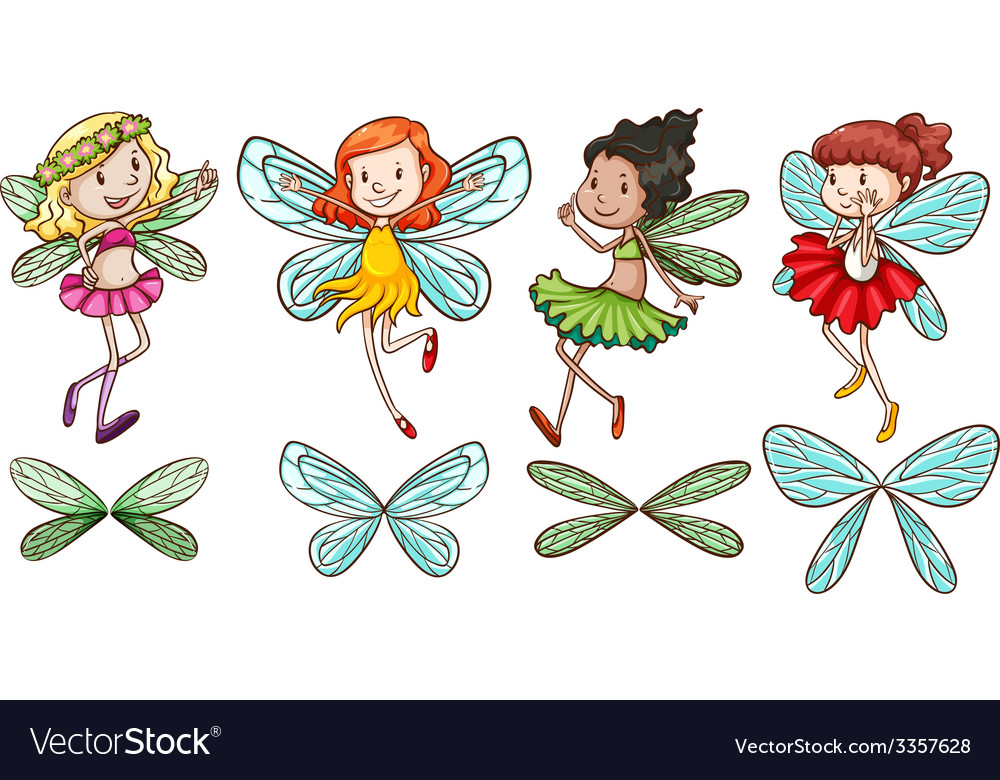 Four fairies vector | Price: 1 Credit (USD $1)
