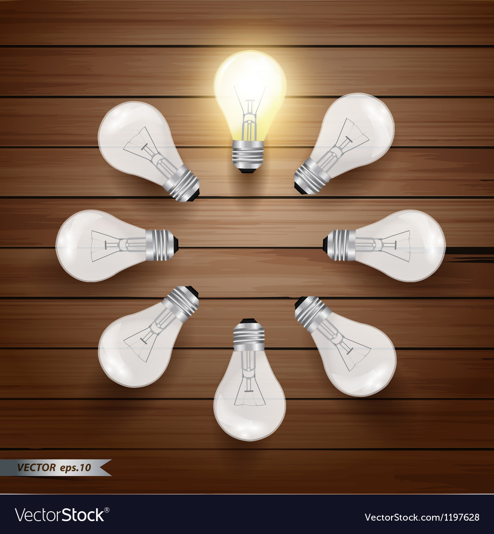 Glowing bulb on wooden background vector | Price: 1 Credit (USD $1)