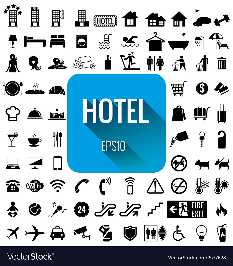 Hotel icon set on white background vector | Price: 1 Credit (USD $1)