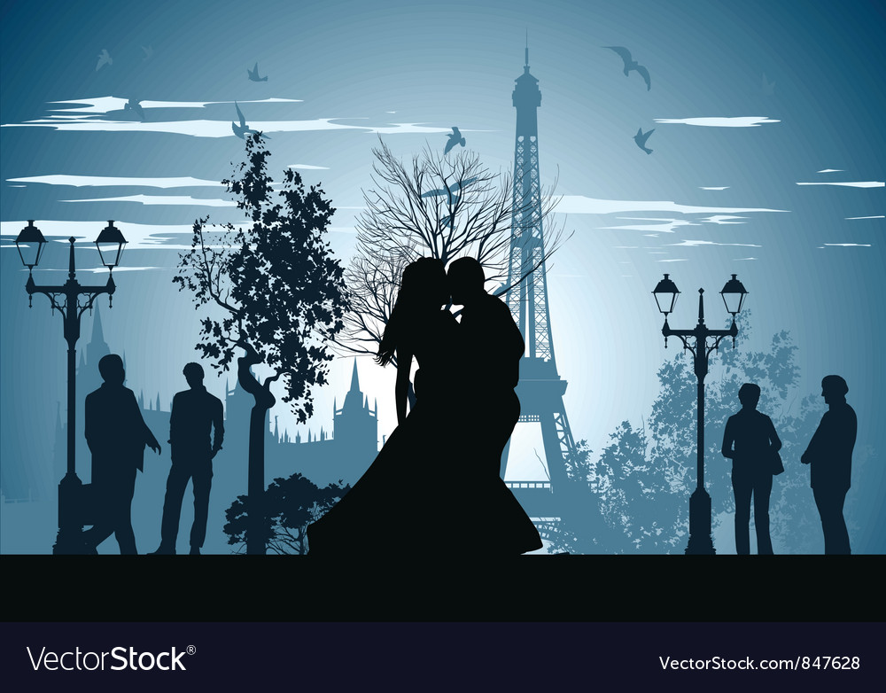 Kissing on a paris street vector | Price: 1 Credit (USD $1)