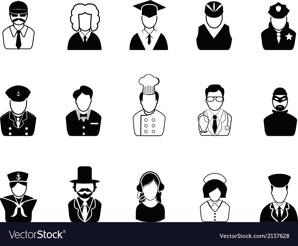 Occupations avatars user icons set vector | Price: 1 Credit (USD $1)